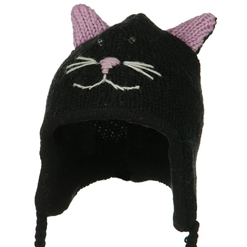Chullo Ski Hat - Toddler Animal Wool Ski Hat - Kittie OSFM