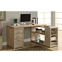 Monarch Specialties Reclaimed-Look Left or Right Facing Corner Desk, Natural