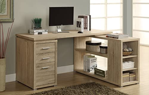 Monarch Specialties Hollow-Core Left or Right Facing Corner Desk, Natural