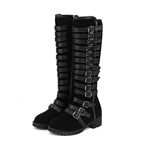 FCXBQ Women's Belt Buckle High Boots, Frosted Low Heel Knight Boots Round Head Waterproof Platform with Non-Slip Long Boots Comfortable Suede Knee Boots Warm Thick,Black,36