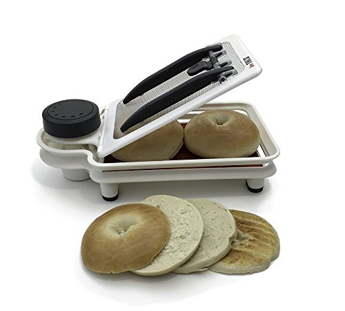 Bagel Food Cutter Safely Holds Multiple Pieces of Bread, Chicken, Vegetables, and Fruit While You Cut