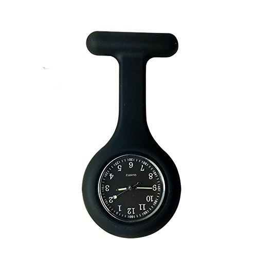 Pocket Watch Timepiece (Silicone Pocket Brooch Clip Fob Medical Nurse Watch Pocket Clock Gift for Hospital Doctors Nursing Timepiece (Black))