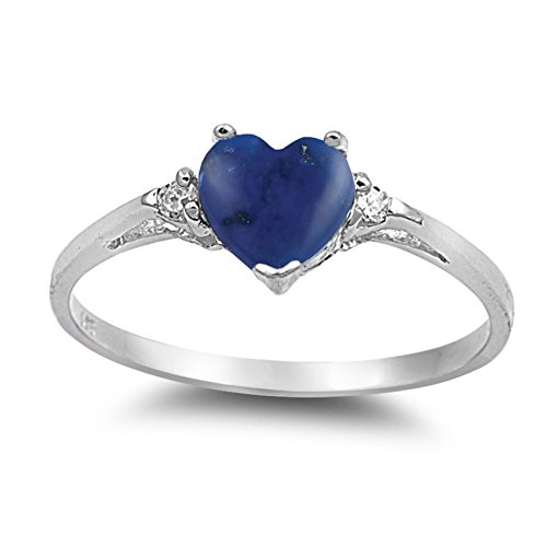 925 Sterling Silver Cabochon Natural Genuine Blue Lapis Heart Promise Ring Size 7