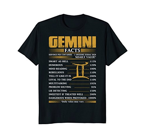 Gemini Facts Servings Per Container Zodiac - Girl Gemini