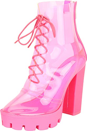 Cambridge Select Women's Clear See-Through Transparent Lace-Up Chunky Lug Sole High Block Heel Ankle Bootie,10 B(M) US,Pink (Club Heels Pink)
