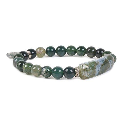 Bracelet Stone Natural (Natural Moss Agate Gem Semi Precious Gemstone Love Heart Charm Stretch Bracelet)