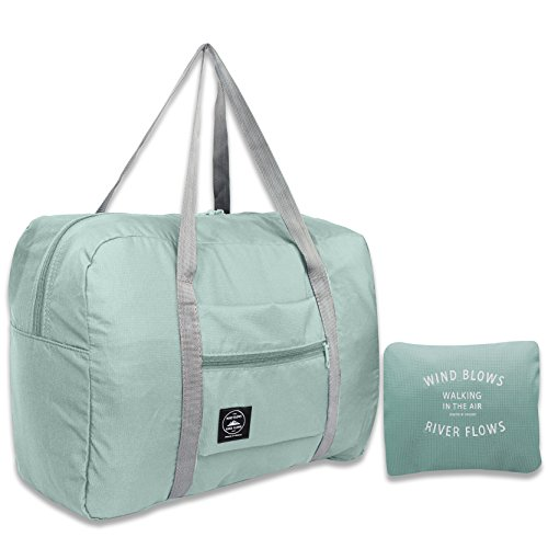 25L Travel Foldable Duffel Bag for Women & Men, Waterproof Lightweight travel Luggage bag for Sports, Gym, Vacation(II-Mint Green)