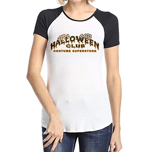 Women Halloween Club Baseball T Shirts Casual Raglan 3/4 Sleeves Tee -