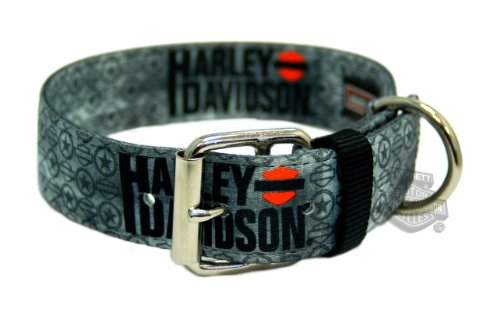 "Harley-Davidson Dog Collar Double-Ply Grey Vintage 22"" x 1 1/2"" Nylon with Roller Buckle"