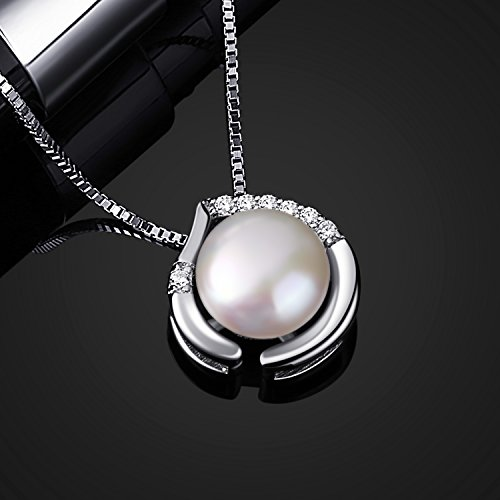 B.Catcher Silver Necklace Pearl Jewellery 925 Freshwater Pearl Heart Pendant Nekclaces giaDyu