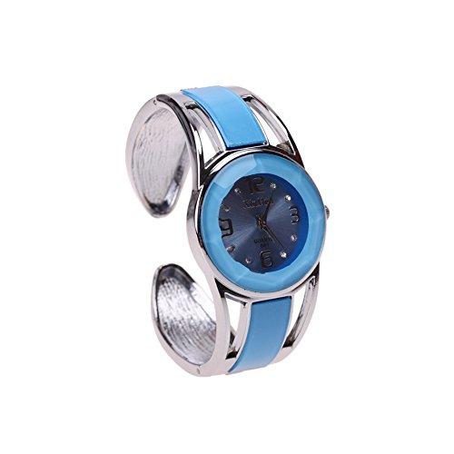 ele ELEOPTION Bracelet Design Quartz Wrist Watches with Rhinestone Blue Dial Stainless Steel Bracelet for Women (Blue)
