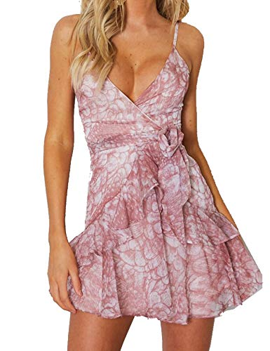 Murimia Women's V-Neck Spaghetti Strap Backless Floral Lace Mini Skater ()