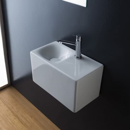 Scarabeo 1522-One Hole Cube Rectangular Ceramic Wall Mounted Vessel Sink, White