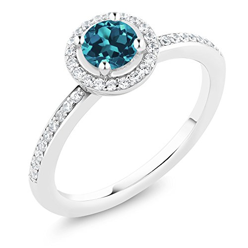 Gem Stone King 925 Sterling Silver London Blue Topaz Gemstone Birthstone Women s Ring 0.69 cttw Available 5,6,7,8,9