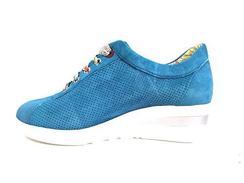 R20110 ZIRCONIA Scarpa donna Melluso sneaker zeppa pelle made in Italy azzurro