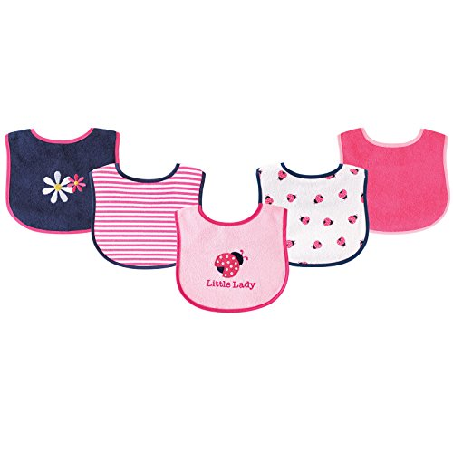 Luvable Friends 5 Piece Fun Girls Drooler Bibs, Ladybug