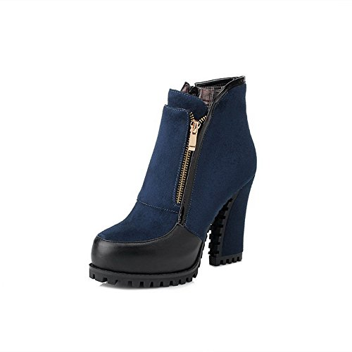 BalaMasa Womens High Heels Ankle High Assorted Colors Blue PU Autumn And Winter Boots - 5.5 B(M) - Boots Baby Spice