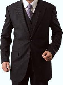 B0055LEZZK Elegant Men's Two button Three piece Strip Suit (52Long, Gray)