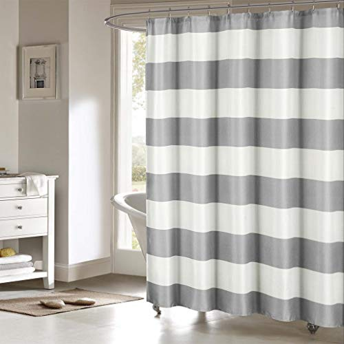 kensie Toto Nautical Striped Fabric Shower Curtain Liner, 70 x 70, Grey/White