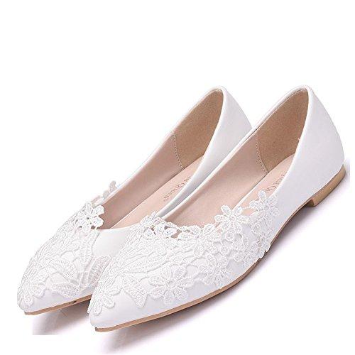 SL-Damen Hochzeit Brautschuhe/Lace Satin Schnalle Pumps/Satin Damen Brautschuhe/Lace Spitze Flache BrautschuheGroße, flache Spitze white