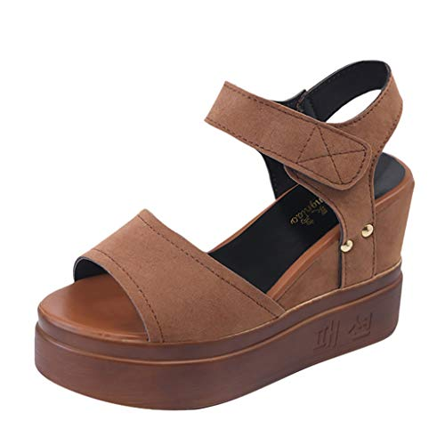 Toimothcn Women Platforms Sandals Summer Leisure Thick Bottom Peep Toe Shoes Wedges Sandals(Khaki,US:6.5)