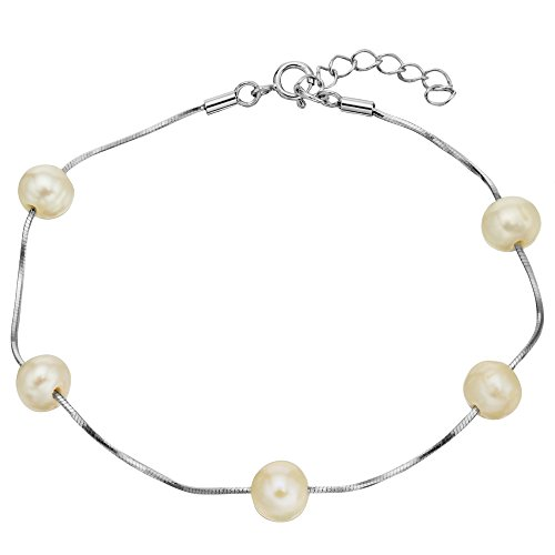EVER FAITH 925 Sterling Silver Tin Cup 6MM Freshwater Cultured Pearl Station Bracelet - One Layer by EVER FAITH