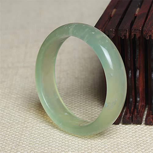 HSUMING Natural Jade Bracelet Bangle Chinese Style Lucky Amulet Light Green Emerald Bangle,60 ()