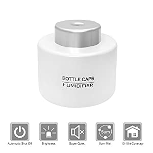 Air Humidifier, Air Diffuser, Aroma Mist Maker, Bottle Caps Humidifier, FlatLED Universal USB Portable ABS Mini Humidifier For Office Home Travel White