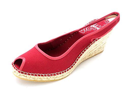 Vidorreta Frauen Darla Peep Toe Leger Leinen Sandalen mit Keilabsatz Red