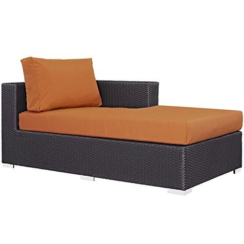 Modway Convene Wicker Rattan Outdoor Patio Right Arm Chaise in Espresso Orange