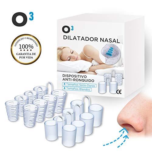 O³ Dilatador Nasal - 8 Antironquidos Nasal - 100% sin BPA - Remedio contra el Ronquido - Para mejorar la apnea del sueno y la respiracion nasal