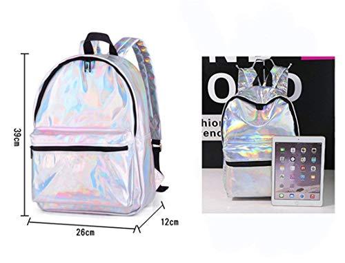kleur Usb Schooltas Laser Holografisch Rugzak Meisje 4 Vrouw Oplader 5 Leer 3 Yisaesa Silver xwPTZZ