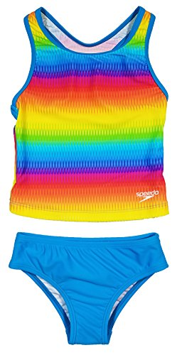 Speedo Girls Racerback 2-Piece Tankini Swimsuit (14, Blue Rainbow) (Rainbow Tankini)