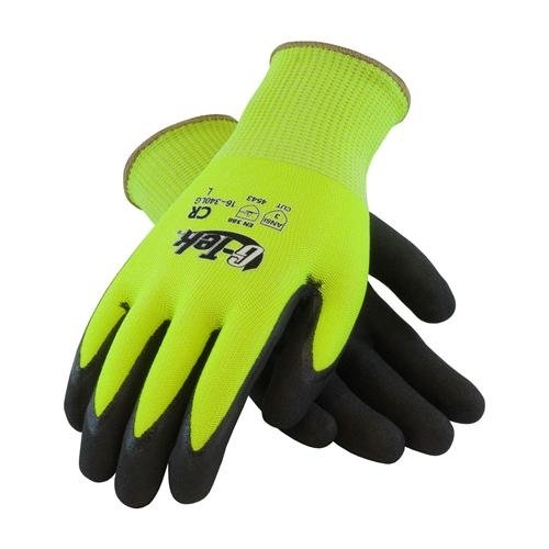 G-Tek CR, Hi-Vis Lime Green HPPE/Glass 13 Gauge Seamless Shell, Double Dipped Black Micro-Surface Nitrile Coated Palm and Fingers, L by Protective Industrial Products (Image #1)