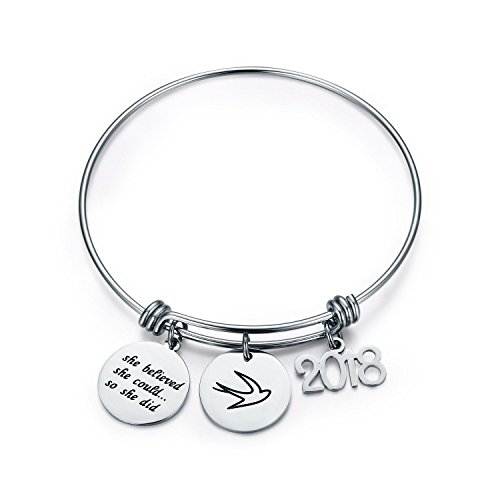 CJ&M Graduation Gift Jewelry Stainless Steel 2018 She Believed She Could So She Did Bangle Bracelet Inspirational Gift for Girl,Women.... (Inspirational Bracelet)