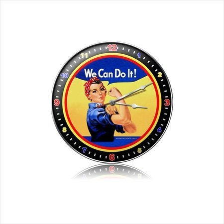 Past Time Signs C078 Rosie The Riveter Allied Military Clock from Past Time Signs