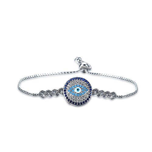Akvode Women's Fashion Cubic Zircon Devil's Eye Bracelets Girls Colorful Sapphire Adjustable (Devil Eye)