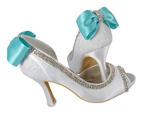 Tiffany Blue Ivory Lace Wedding Shoes Peep Toe Custom Rhinestone Embellishment Bows 3.5 inch high heels