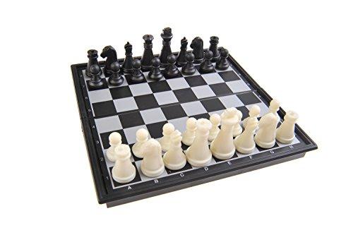 Magnetisches Brettspiel (Super Mini Reise-Edition): Schach - magnetische Spielsteine, Spielbrett zusammenklappbar, 13cm x 13cm x 1, 2cm, Mod. SC5277 (DE)