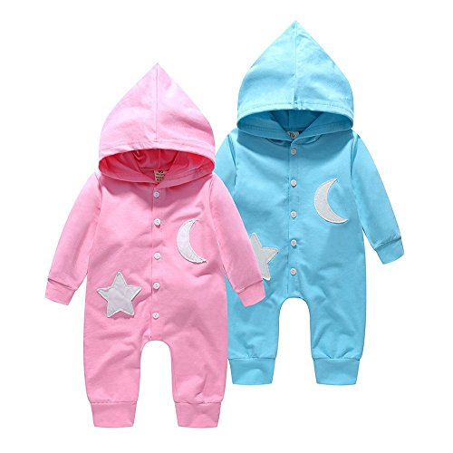 Price comparison product image Newborn Baby Star&Moon Hooded Romper Jumpsuit Clothes Bodysuit Playsuit Outfit 0-2T