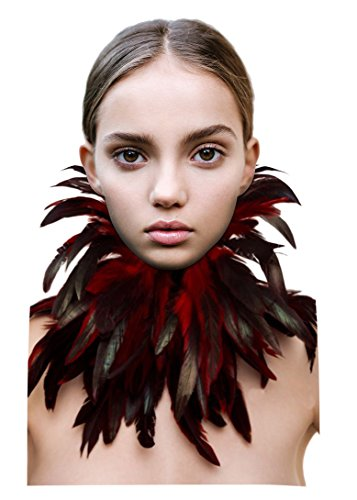 L'VOW Gothic Victorian Natural Feather Choker Neck Wrap Collar for Halloween Party (Red)