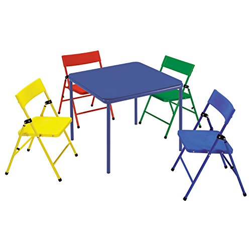 Metro Shop Cosco Kid's 5-piece Colored Folding Chair and Table Set-Red/Yellow/Blue/Green