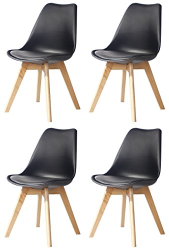 CreationYusheng Set of 4 Eames Style Soft Padded Seat Dining chair,modern and body engineering design chairs with wood leg, Black,