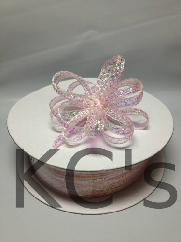 "1/8"" 50 Yards Light Pink Organza Iridescent Center with String Pull Ribbon Bow"
