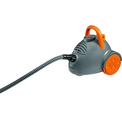 Dampfreiniger mit 3, 5 bar in grau/orange Dampfdruck + Zubehö r Dampfreinigung Fenster Felgenreiniger Badreiniger (leistungsstarke 1350 Watt + ca. 600 ml Wassertank) Bomann