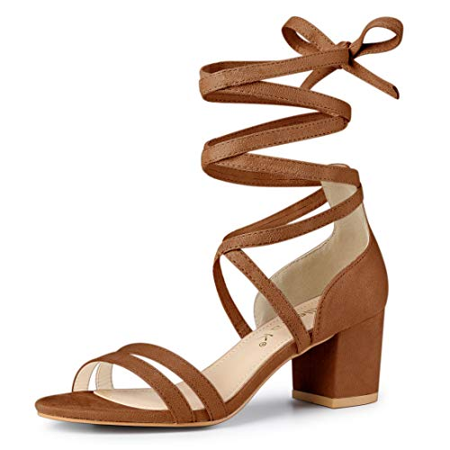 Allegra K Women's Open Toe Lace Up Color Block Heel Brown Sandals - 5 M US (Abs Womens Sandals)