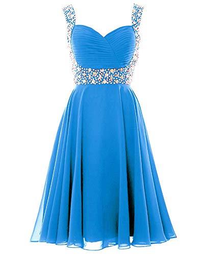 JeniDress Women's Short Sweetheart Chiffon Pleat Princess Prom Dress Beading Cocktail Party Gowns Ocean Blue