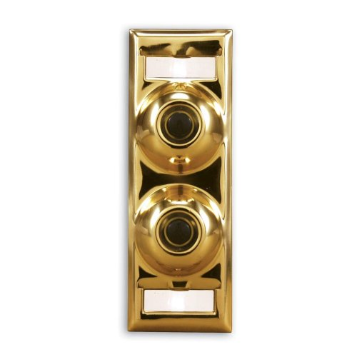 Heath Zenith 911P-B Wired Push Button Multi-Family Name Plate, Polished Brass with Black Center