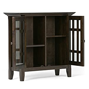 Simpli Home Bedford Low Storage, Dark Tobacco Brown