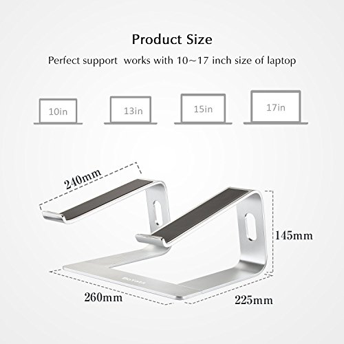 Laptop Stand Compatible for MacBook Pro/Air, Boyata Aluminum Stand Holder Ergonomic Ventilated Desktop Stand Design for All 10-17 Inch Apple Notebooks, Samsung, Acer, HP, Dell Laptop-Sliver Photo #3